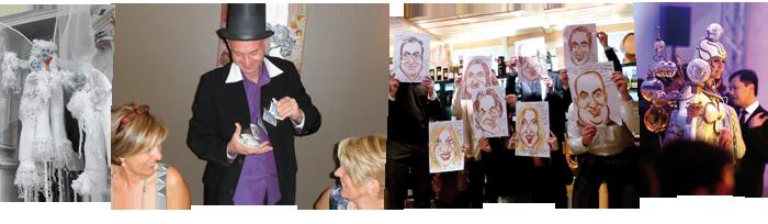 échassiers close up magie magicien caricature caricaturiste porteuse d'eau porteuse de champagne